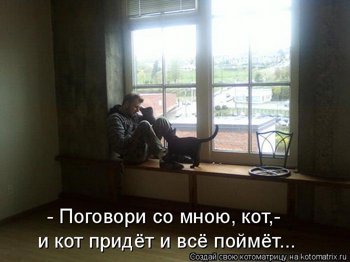 Котоматрица: - Поговори со мною, кот,- и кот придёт и всё поймёт...