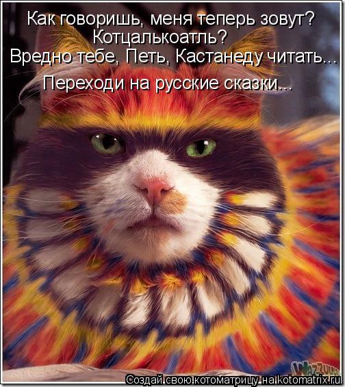 Котоматрица: Как говоришь, меня теперь зовут? Котцалькоатль? Вредно тебе, Петь, Кастанеду читать... Переходи на русские сказки...