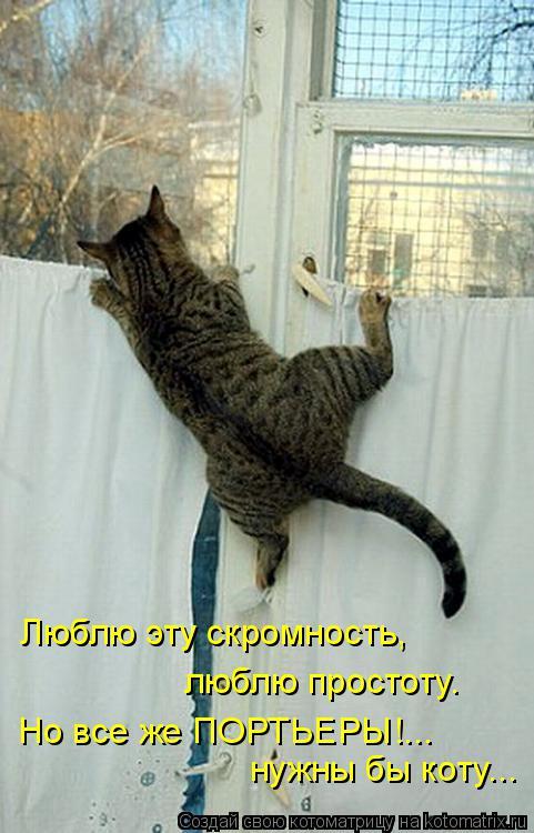 Котоматрица: Люблю эту скромность,  люблю простоту. нужны бы коту... Но все же ПОРТЬЕРЫ!...