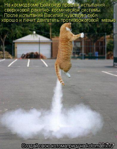 Котоматрица: На космодроме Байконур прошли испытания  сверхновой ракетно- космической системы. После испытаний Василий чувствует себя  хорошо и лечит д