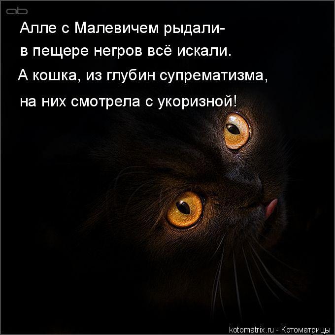 Котоматрица: Алле с Малевичем рыдали- в пещере негров всё искали. А кошка, из глубин супрематизма, на них смотрела с укоризной!