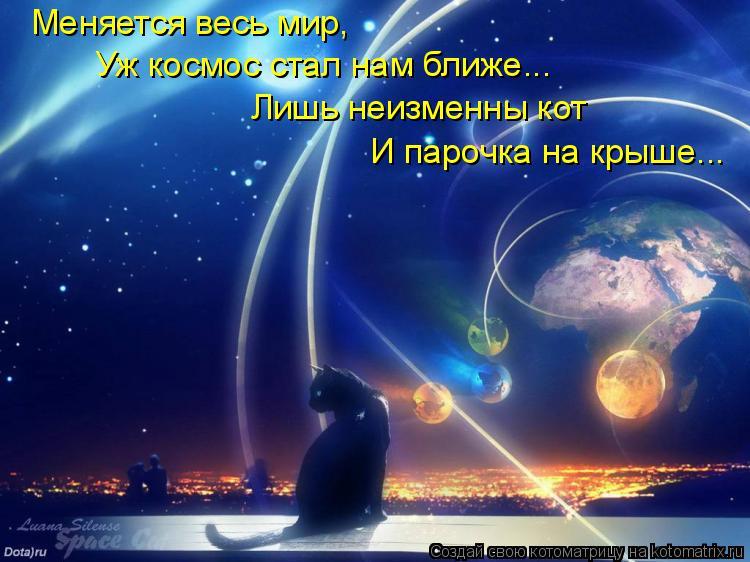 Котоматрица: Меняется весь мир,  Уж космос стал нам ближе... Лишь неизменны кот И парочка на крыше...