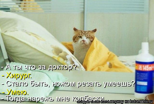 Котоматрица: - А ты что за доктор? - Хирург. - Стало быть, ножом резать умеешь?  - Тогда нарежь мне колбаски... - Умею.