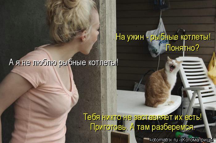 Котоматрица: На ужин - рыбные котлеты!  Понятно? А я не люблю рыбные котлеты! Тебя никто не заставляет их есть!  Приготовь. А там разберемся.