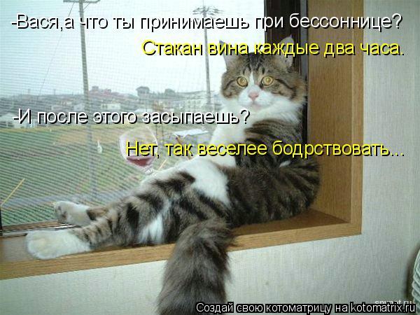 Котоматрица: -Вася,а что ты принимаешь при бессоннице? Стакан вина каждые два часа. -И после этого засыпаешь? Нет, так веселее бодрствовать...