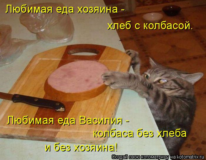 Котоматрица: Любимая еда хозяина - хлеб с колбасой. Любимая еда Василия - колбаса без хлеба и без хозяина!