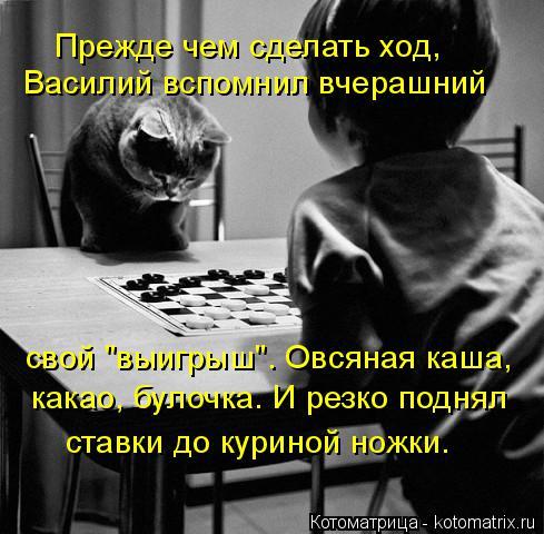 """Котоматрица: Прежде чем сделать ход,  Василий вспомнил вчерашний свой """"выигрыш"""". Овсяная каша, какао, булочка. И резко поднял ставки до куриной ножки."""