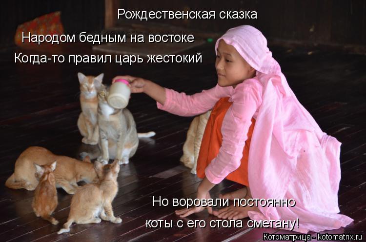 Котоматрица: Рождественская сказка Народом бедным на востоке  Когда-то правил царь жестокий Но воровали постоянно коты с его стола сметану!
