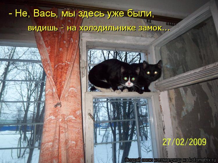 Котоматрица: - Не, Вась, мы здесь уже были,  видишь - на холодильнике замок...