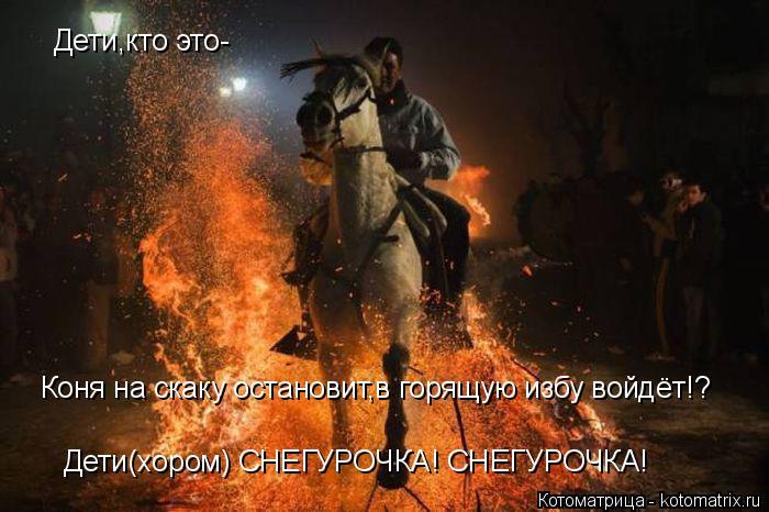 Котоматрица: Дети,кто это- Коня на скаку остановит,в горящую избу войдёт!? Дети(хором) СНЕГУРОЧКА! СНЕГУРОЧКА!