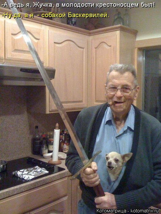 Котоматрица: -А ведь я, Жучка, в молодости крестоносцем был! -Ну да, а я  - собакой Баскервилей.