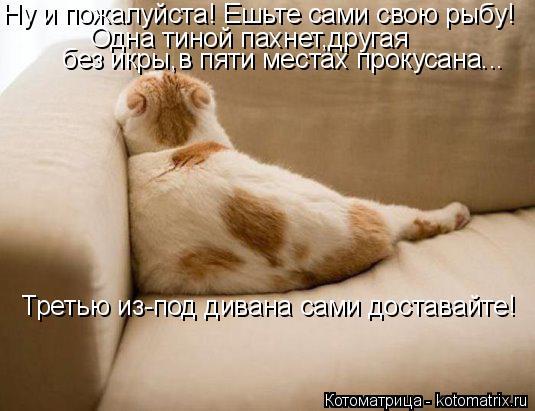 Котоматрица: Ну и пожалуйста! Ешьте сами свою рыбу! Одна тиной пахнет,другая  без икры,в пяти местах прокусана... Третью из-под дивана сами доставайте!