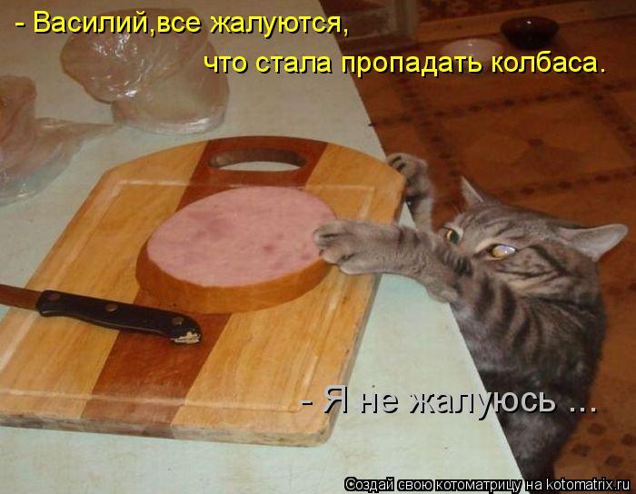 Котоматрица: - Василий,все жалуются, что стала пропадать колбаса. - Я не жалуюсь ...