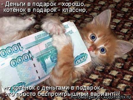 Котоматрица: - Деньги в подарок - хорошо, котёнок в подарок - классно, но котёнок с деньгами в подарок -  это просто беспроигрышный вариант!!!