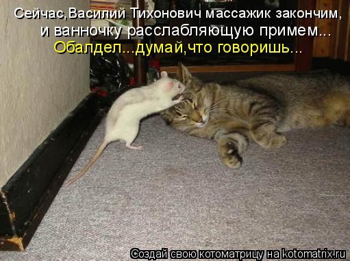Котоматрица: Сейчас,Василий Тихонович массажик закончим, и ванночку расслабляющую примем... Обалдел...думай,что говоришь...