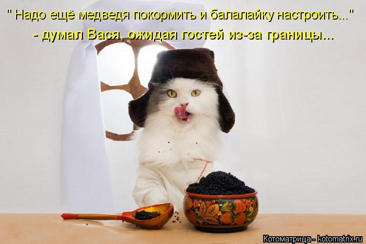 """Котоматрица: """" Надо ещё медведя покормить и балалайку настроить..."""" - думал Вася, ожидая гостей из-за границы..."""