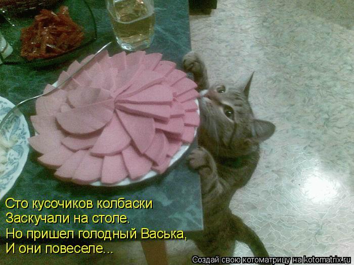 Котоматрица: Сто кусочиков колбаски Заскучали на столе. Но пришел голодный Васька,  И они повеселе...