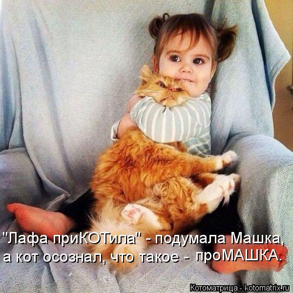 """Котоматрица: а кот осознал, что такое - проМАШКА. """"Лафа приКОТила"""" - подумала Машка,"""