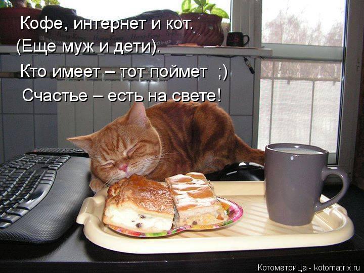 Котоматрица: Кофе, интернет и кот. (Еще муж и дети). Кто имеет – тот поймет  ;) Счастье – есть на свете!