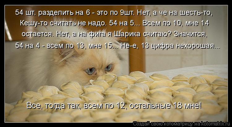 Котоматрица: 54 на 4 - всем по 13, мне 15... Не-е, 13 цифра нехорошая... Все, тогда так, всем по 12, остальные 18 мне! Кешу-то считать не надо. 54 на 5... Всем по 10, мне 14 54 шт