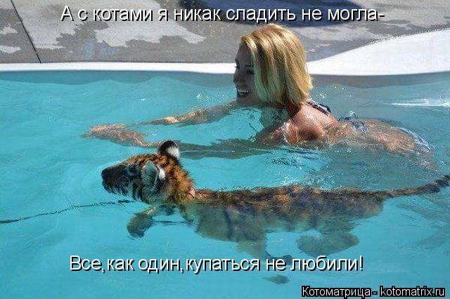 Котоматрица: А с котами я никак сладить не могла- Все,как один,купаться не любили!