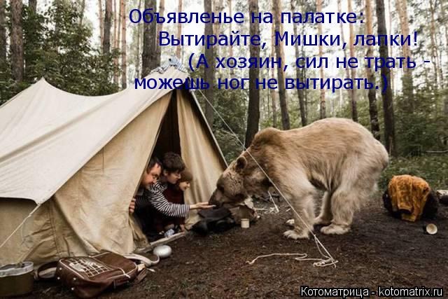 Котоматрица: Объявленье на палатке: Вытирайте, Мишки, лапки! (А хозяин, сил не трать - можешь ног не вытирать.)