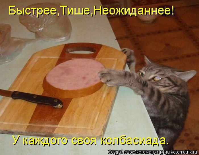 Котоматрица: Быстрее,Тише,Неожиданнее! У каждого своя колбасиада.