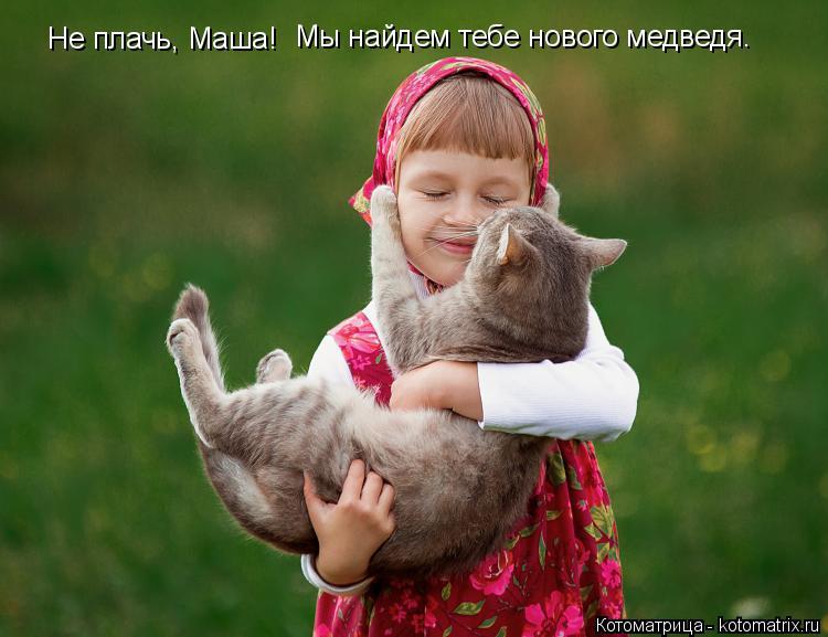 Котоматрица: Не плачь, Маша! Мы найдем тебе нового медведя.