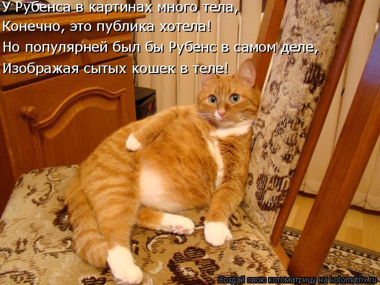 Котоматрица: Изображая сытых кошек в теле! Но популярней был бы Рубенс в самом деле, Конечно, это публика хотела! У Рубенса в картинах много тела,