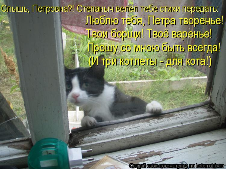 Котоматрица: Слышь, Петровна?! Степаныч велел тебе стихи передать: Люблю тебя, Петра творенье! Твои борщи! Твоё варенье! Прошу со мною быть всегда! (И три к