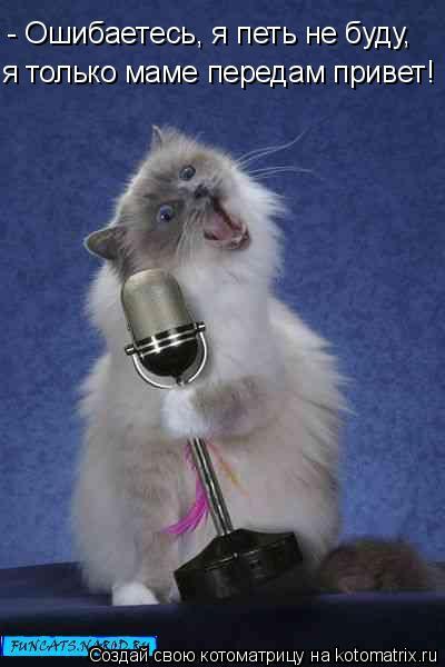Котоматрица: - Ошибаетесь, я петь не буду, я только маме передам привет!