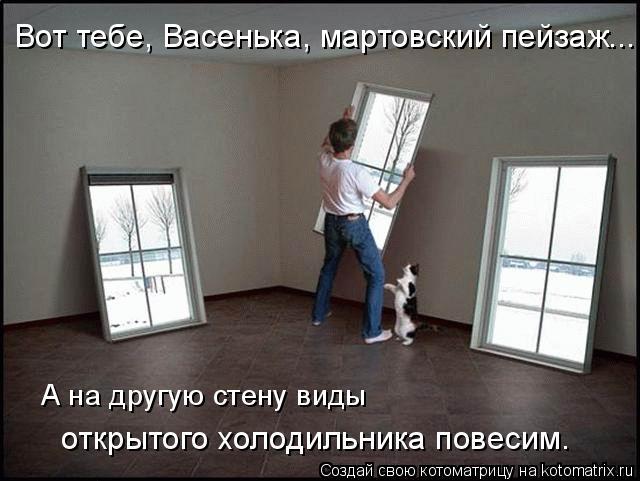 Котоматрица: открытого холодильника повесим. А на другую стену виды Вот тебе, Васенька, мартовский пейзаж...