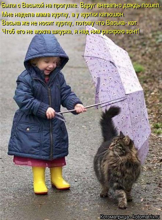 Котоматрица: Были с Васькой на прогулке. Вдруг внезапно дождь пошел. Мне надела мама куртку, а у куртки капюшон. Васька же не носит куртку, потому что Вась