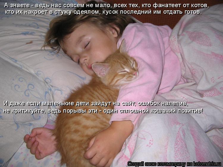 Котоматрица: А знаете - ведь нас совсем не мало, всех тех, кто фанатеет от котов,  кто их накроет в стужу одеялом, кусок последний им отдать готов. И даже ес