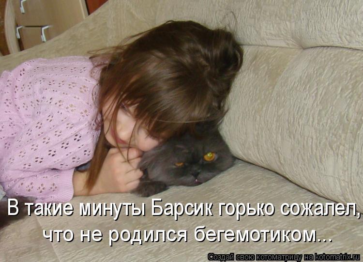 Котоматрица: В такие минуты Барсик горько сожалел, что не родился бегемотиком...
