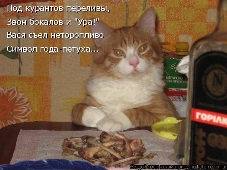 """Котоматрица: Звон бокалов и """"Ура!"""" Вася съел неторопливо Символ года-петуха... Под курантов переливы,"""
