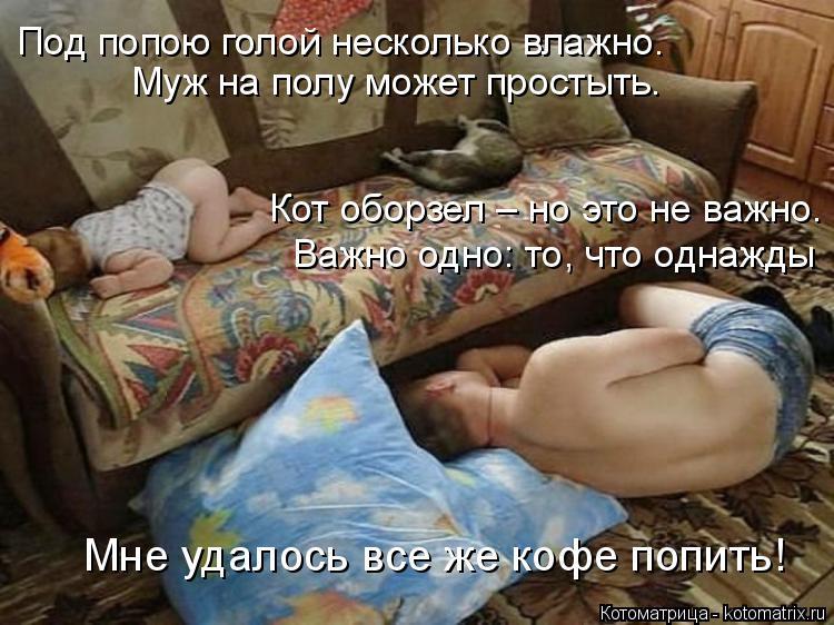 Котоматрица: Под попою голой несколько влажно. Муж на полу может простыть. Кот оборзел – но это не важно. Важно одно: то, что однажды Мне удалось все же ко