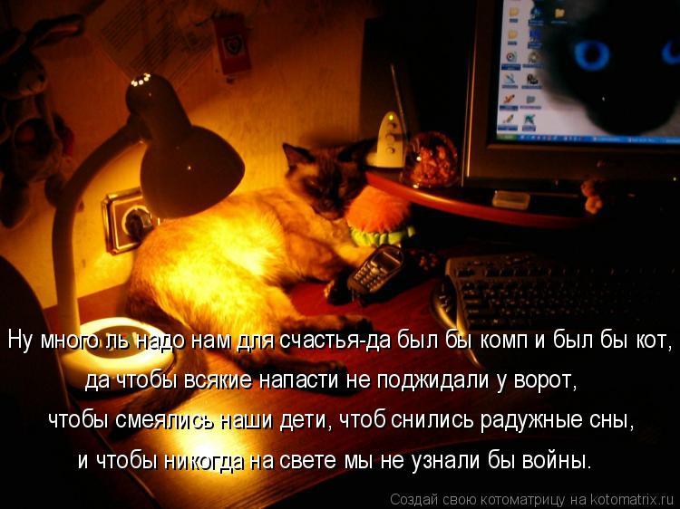 Котоматрица: Ну много ль надо нам для счастья-да был бы комп и был бы кот, чтобы смеялись наши дети, чтоб снились радужные сны, да чтобы всякие напасти не п