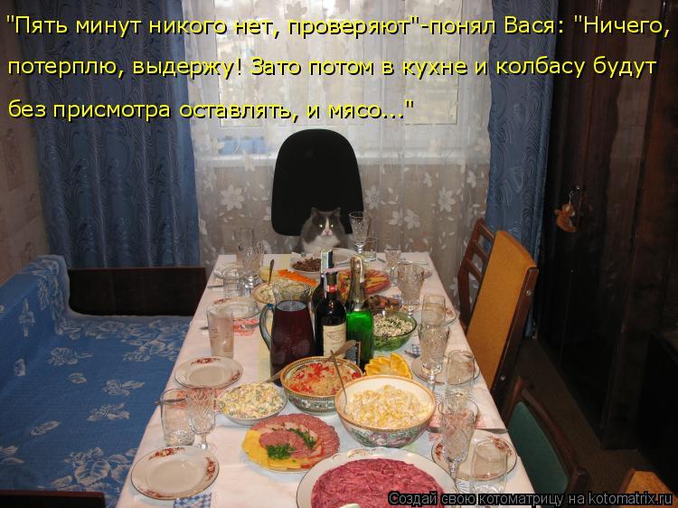 """Котоматрица: """"Пять минут никого нет, проверяют""""-понял Вася: """"Ничего, потерплю, выдержу! Зато потом в кухне и колбасу будут  без присмотра оставлять, и мясо.."""