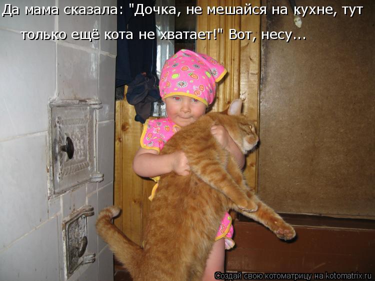 """Котоматрица: Да мама сказала: """"Дочка, не мешайся на кухне, тут только ещё кота не хватает!"""" Вот, несу..."""