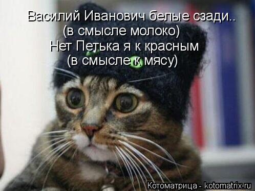 Котоматрица: Василий Иванович белые сзади.. (в смысле молоко) Нет Петька я к красным (в смысле к мясу)