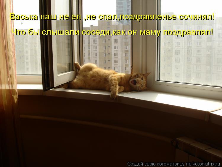 Котоматрица: Васька наш не ел ,не спал,поздравленье сочинял! Что бы слышали соседи,как он маму поздравлял!