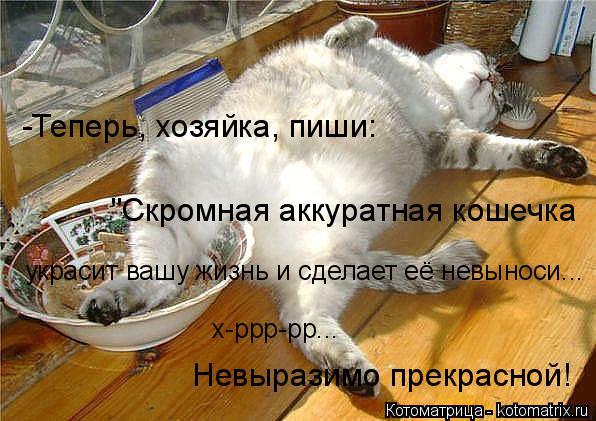 """Котоматрица: -Теперь, хозяйка, пиши: """"Скромная аккуратная кошечка украсит вашу жизнь и сделает её невыноси... х-ррр-рр... Невыразимо прекрасной!"""