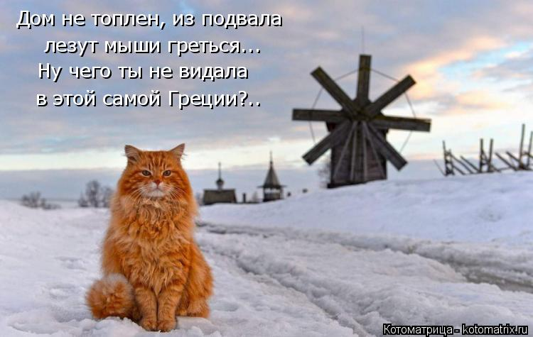Котоматрица: Дом не топлен, из подвала лезут мыши греться... Ну чего ты не видала в этой самой Греции?..