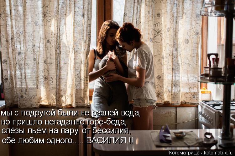 Котоматрица: мы с подругой были не разлей вода, но пришло негаданно горе-беда, слёзы льём на пару, от бессилия,  обе любим одного..... ВАСИЛИЯ !!