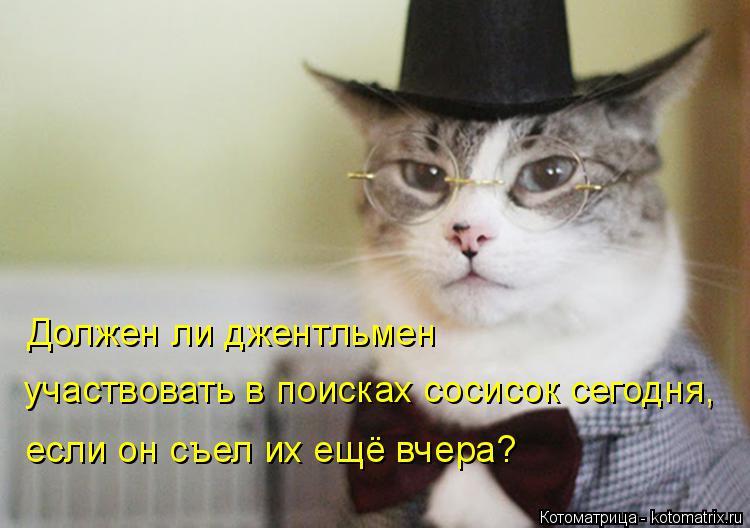 Котоматрица: Должен ли джентльмен  участвовать в поисках сосисок сегодня,  если он съел их ещё вчера?
