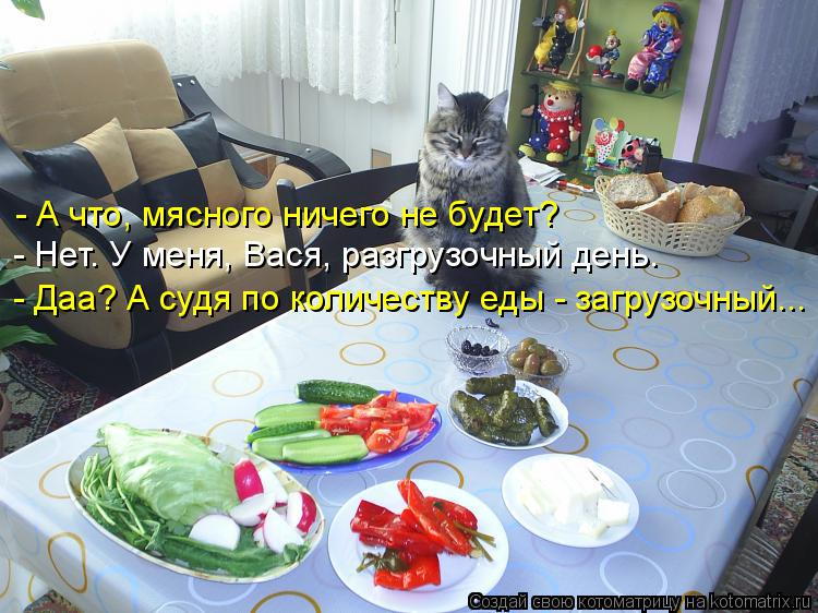Котоматрица: - А что, мясного ничего не будет? - Нет. У меня, Вася, разгрузочный день. - Даа? А судя по количеству еды - загрузочный...