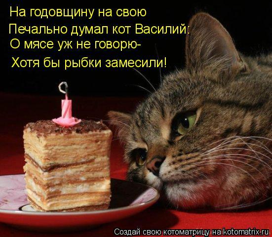 Котоматрица: На годовщину на свою Печально думал кот Василий: О мясе уж не говорю- Хотя бы рыбки замесили!