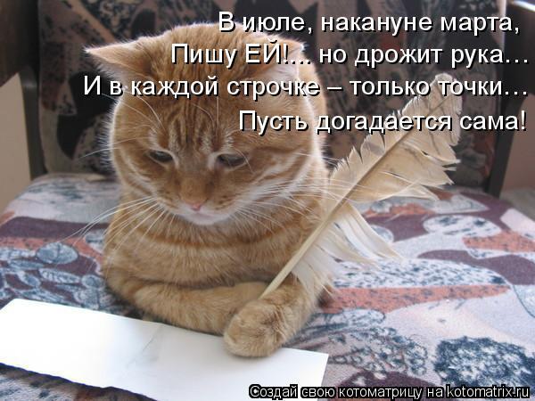 Котоматрица: В июле, накануне марта, Пишу ЕЙ!... но дрожит рука… И в каждой строчке – только точки… Пусть догадается сама!