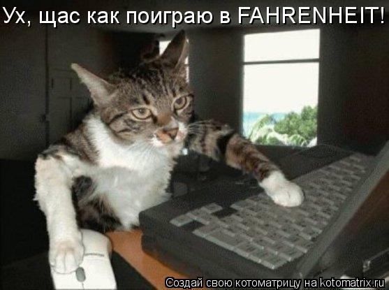Котоматрица: Ух, щас как поиграю в FAHRENHEIT!